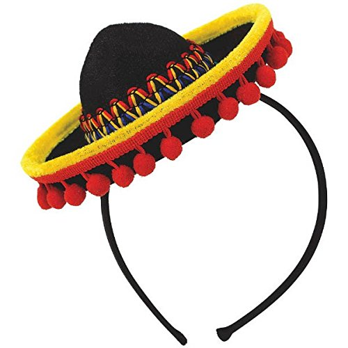 [Cinco De Mayo Fiesta Party Black Spanish Hat With Red Ball Fringe Headband Accessories, Plastic, 8