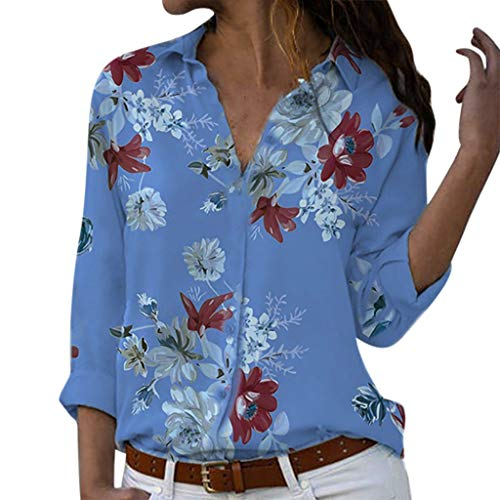 Outeck for Women Long Sleeves Loose Flowy Beach Vacation Elegant Button Collar Shirt Blouse Floral Print Top Shirt (2XL, Blue)]()