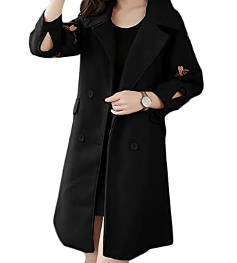 c91cf050691 Amazon.com  Nanquan Women Plus Size Plus Size Embroidery Double Breasted  Slim Fit Lapel Belted Mid-Length Pea Coats  Clothing