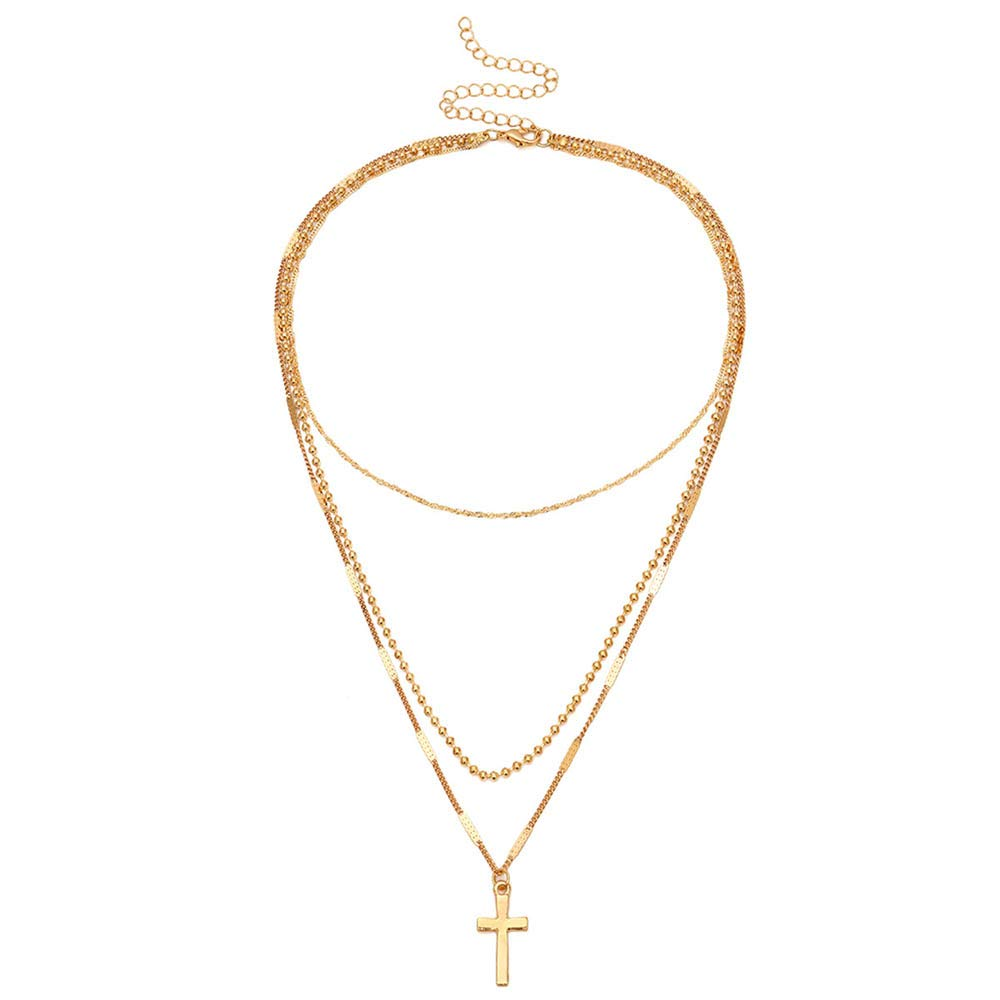Jovono Gold Multilayered Choker Necklace Cross Pendant Necklace Jewelry Chain for Women and Girls