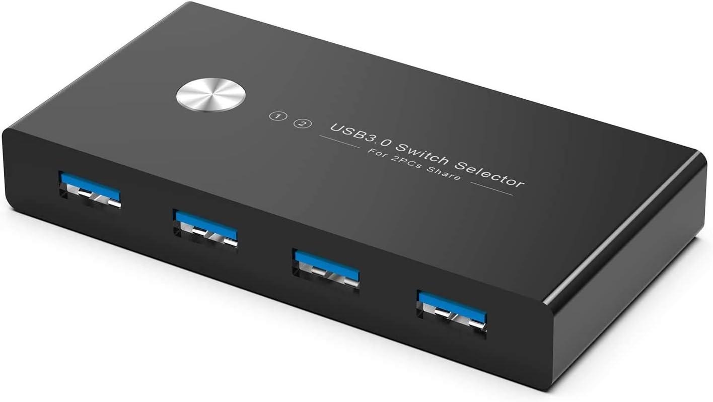 Rybozen 4 Puertos USB 3.0 Switch, Conmutador KVM USB 2 Entradas y 4 Salidas con 2 Cable USB para Compartir Teclado, Ratón, Disco Duro, Impresoras, Escáneres