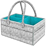 BYETOO Baby Diaper Caddy Organizer - Baby Shower Gift Basket For Boys Girls,Portable Large Diaper Tote Bag,Nursery Storage Bin for Changing Table,Newborn Registry Must Haves,Portable Car Travel Organizer - Newborn Registry Must Have (Gray)