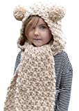 Scarf Clans Kids Cute Winter Hooded Hat Scarf Warm Cable Knitted Wrap Cap Scarf