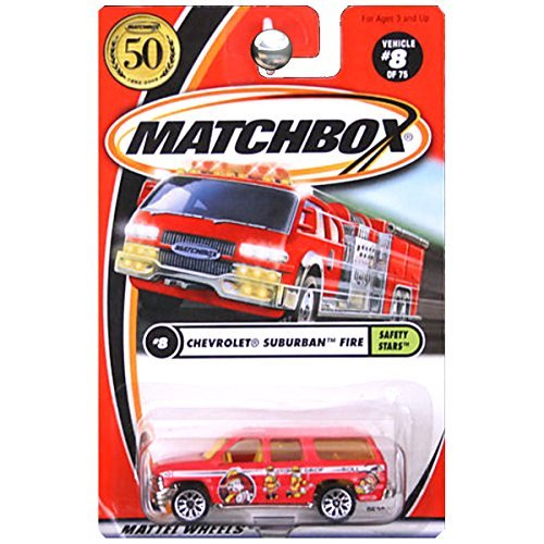 Matchbox 2002-8 Safety Stars Chevrolet Suburban Fire RED 1:64 Scale