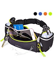 LotFancy Running Hydration Belt with 2 Water Bottles (BPA Free), Waist Belt Unisex Comfortable and Breathable, Best Partner for Outdoor, Marathon, Jogging, Cycling, Climbing, Camping