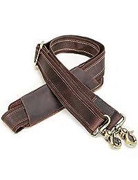 Genuine Leather Shoulder Strap for Briefcases, Duffles, Messenger Bag (Dark Brown)