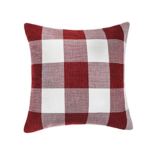 - 4TH Emotion Red White Christmas Buffalo Checkers Plaids Throw Pillow Cover Cushion Case Cotton Linen Home Decorations for Sofa 18 x 18 Inch