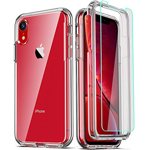 COOLQO Compatible for iPhone XR Case, with [2 x Tempered Glass Screen Protector] Clear 360 Full Body Coverage Hard PC…