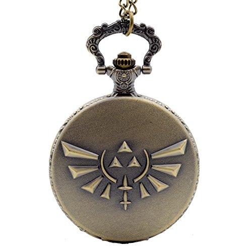 Cosplay Pocket Watch (Cosplay Game The Legend of Zelda Tri Force Heroes Quartz Pocket Watch Necklace Chain for Men Bronze)
