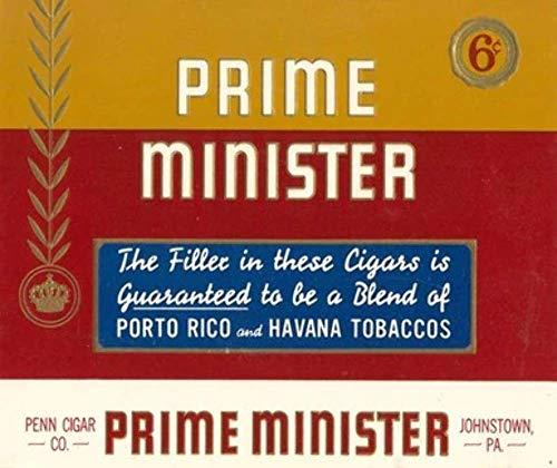Unused Penn Cigar Corp. Prime Minister Cigar Box Label - Johnstown, PA