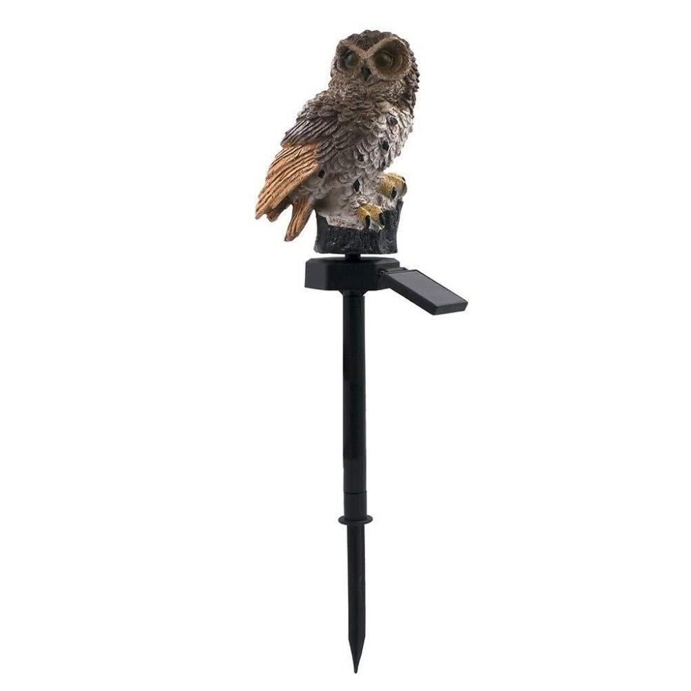 VIVIANE Owl Solar Light, Solar LED Panel Fake Owl Light, Waterproof Solar Garden Light, Owl Decorative Animal Bird Outdoor Garden Garden Light (Emitting Color : Brown)