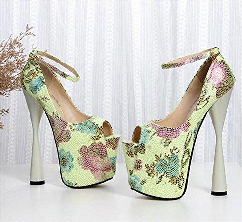 Femmes Club Soirée Pompes Pour Des Et Chaussures Xie Taille 35 Fête Plate forme Bloc Toe Haut eu40 41 Talon Impression Sandales Open Green À EqAPPxCw