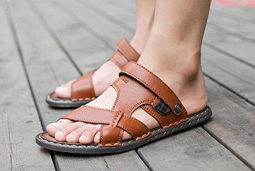 Hombres Respirables de de al de Zapatillas Verano antidesgaste Sandalias Brown para Libre Playa Zapatillas Cuero Suave Aire Antideslizantes ISpSqxCw8