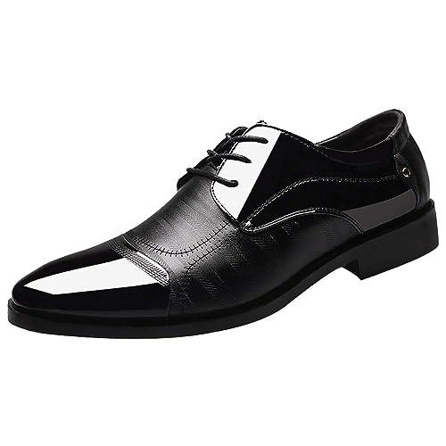 quality design 7a768 053c3 Celucke Herren Derby Schnürhalbschuhe Anzugschuhe Oxford Schuhe, Business  Lederschuhe Smoking Lackleder Hochzeit Derby Leder Brogue