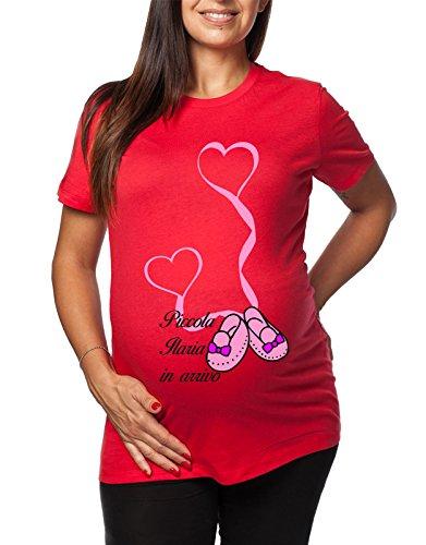 Tshirt da femminuccia in simpatiche divertenti Piccola lunga Ilaria e premaman humor tshirt ideale Rosso arrivo donna il per 5r5BgnU
