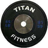 Cheap Single Titan Elite Olympic Bumper Plates – 45 LB (Black/Blue)