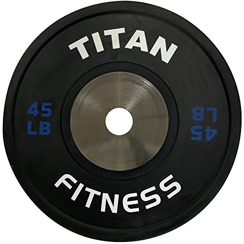 Single Titan Elite Olympic Bumper Plates - 45 LB (Black/Blue) ()
