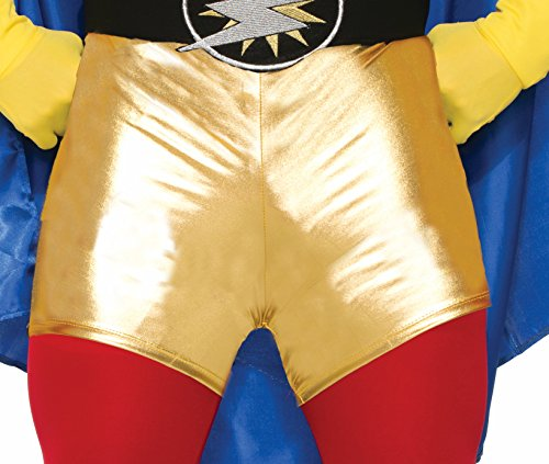 Super Hero Metallic Gold Mini Booty Shorts Adult Comic Books Costume Accessory (Book Costumes For Adults)