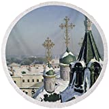 Pixels Round Beach Towel With Tassels featuring ''View From A Window Of The Moscow School Of Painting'' by Pixels