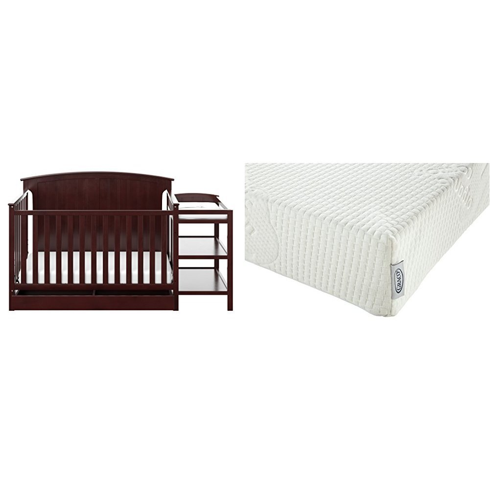 Storkcraft Steveston 4-in-1 Convertible Crib and Changer with Drawer, Espresso with Graco Natural Organic Foam Crib and Toddler Mattress