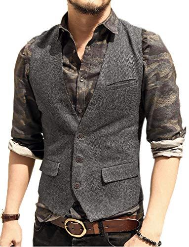JYDress Men's Slim Fit Herringbone Tweed Suits Vest 3 Button Vest Waistcoat Grey