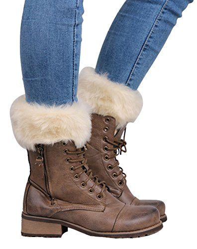 TagoWell Women Winter Faux Fur Leg Warmer Knitting Wool Short Boot Cuff Sock,Beige ()