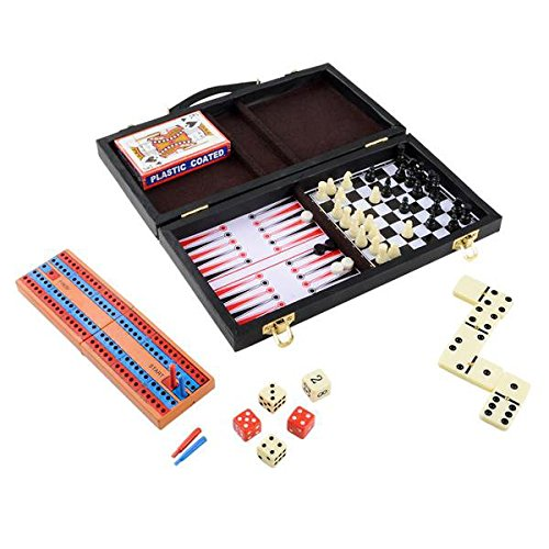 Parlor Game Set by Wish Novelty – 6 Fun Games for Kids & Family – Includes Backgammon, Cards, Checkers, Chess, Dominoes, Cribbage – 11″ Travel Compact Size – Best Gift for Boy or Girl 5+