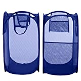 Bagail 2-Pack Pop-up Mesh Laundry Hamper with Reinforced Carry Handles,Foldable Collapsible Laundry Basket with Side Pocket