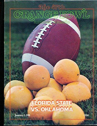 1981 Orange Bowl Football Program Florida State vs Oklahoma