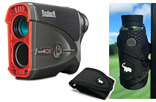 Bushnell Pro X2 Golf Laser Rangefinder | Cart Mount Bundle | Includes Golf Rangefinder (Slope & Non-Slope Function), Carrying Case, Magnetic Golf Cart Mount (Black) and One (1) CR2 Battery by PlayBetter