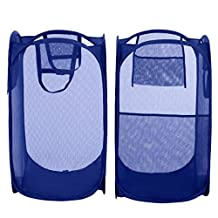 Bagail 2-Pack Pop-up Mesh Laundry Hamper Extra Large with Reinforced Carry Handles,Foldable Collapsible Laundry Basket with Side Pocket
