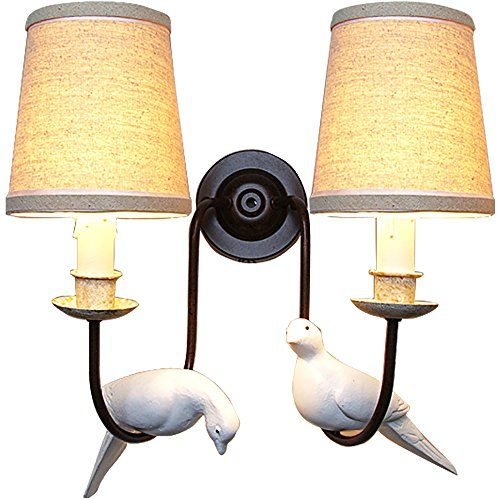 TOYM US European Iron Resin Bird Wall Lamps & Sconces Creative American Retro Wall Lights Study Bedroom Bedside Lamp (Color : Double Head)