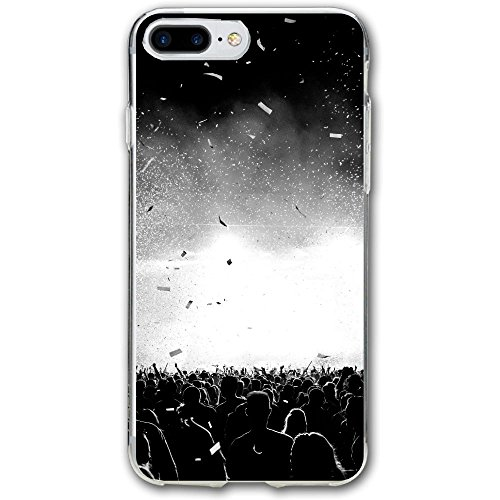 Confetti Silhouette (Shing Black And White Confetti Silhouette Crowd At A Music Festival Backlit IPhone 7plus Case - Flexible Air Cushion Technology Clear Drop Protection For Apple 7plus)