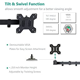 WALI Dual LCD Monitor Mount Free Standing Fully Adjustable Desk Fits Two Screens up to 27\