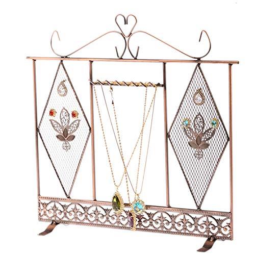 Mission Wall Mount Jewelry - KnSam Jewelry Rack Metal Web 6 Hooks Bronze Jewelry Rack Organizer 35.4x32.8CM