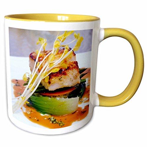 3dRose Danita Delimont - Cuisines - Grouper cuisine, Boca Raton Resort, Florida - US10 GJO0224 - Greg Johnston - 11oz Two-Tone Yellow Mug - Raton Boca Outlet