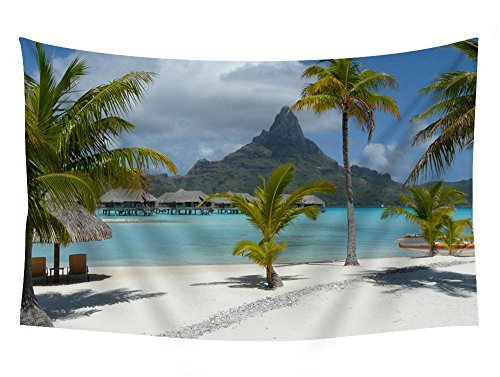 PUPBEAMO PRINTS Thalasso-Spa Bora Bora Beach - #35337 - Wall Tapestry Art For Home Decor Wall Hanging Tapestry Bedroom Living Room Dorm Decor 60x40 Inches ()