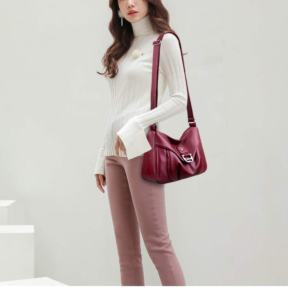 Coolives dam axelväska av PU-läder liten axelväska handväska elegant väska väska väska för dam enkel Rött vin