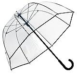 Elite Rain Women's Fiberglass Bubble Umbrella with Narro Trim - Clear