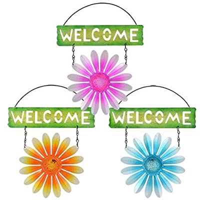 Spring Floral Garden Decorative Metal Floral Welcome Signs 10.5 in 3 Piece Set Flower
