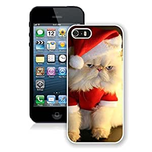 2014 Newest Christmas Wearing White Fur Lovely Cat Iphone 5s Case,Phone Case For Iphone 5,Iphone 5 White TPU Cover