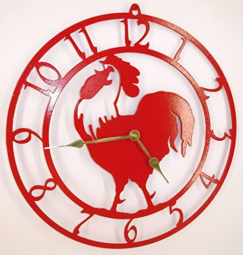 Rooster Clock. Fire Red with Brass Hands. 15 inch diameter. Quartz Movement. Hand Made in USA