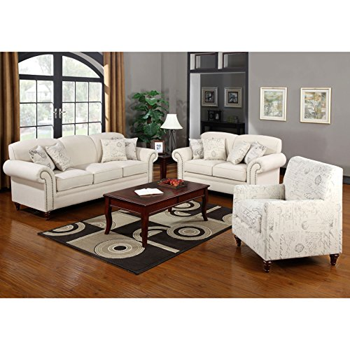 A Line Furniture French Traditional Design Living Room Sofa Collection with Nailhead Trim Beige