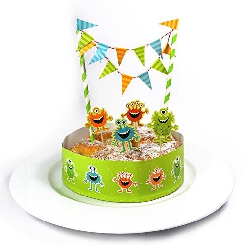 Kuchen Deko Set - Monster - / Kuchengirlande Geburtstag / Kuchenaufsatz / Tortengirlande