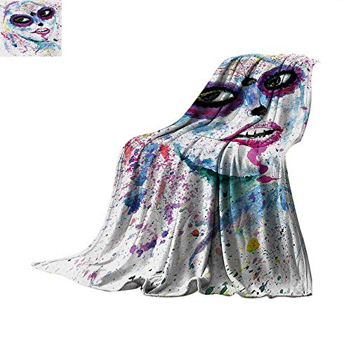Girls Weave Pattern Blanket Grunge Halloween Lady with Sugar Skull Make Up Creepy Dead Face Gothic Woman Artsy Summer Quilt Comforter 60
