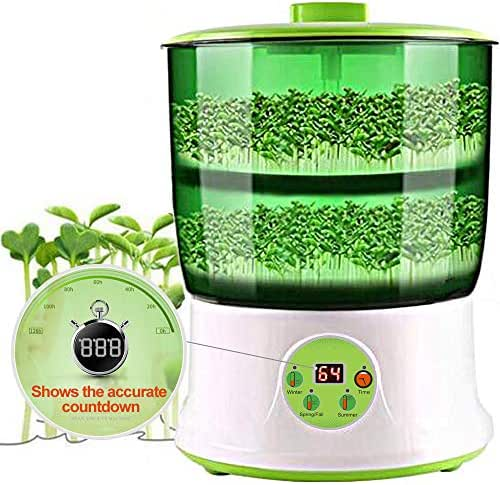 Bean Sprouts Machine,LED Display 110V Automatic Intelligence Electronical Seed Sprouts Maker Food Grad PP Material 2 Layers Large Capacity Power-Off Memory Function Sprouter