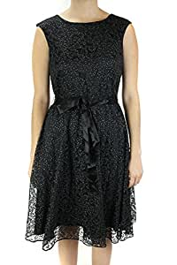 Tahari Black Sleeveless Glitter Lace Belted Fit & Flare Dress 8