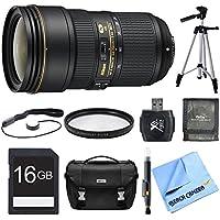 Nikon 24-70mm f/2.8E ED VR AF-S NIKKOR Zoom Lens 16GB Bundle - Includes Lens, 16GB Memory Card, UV Filter, Bag, Card Reader, Mem Card Wallet, Lens Cap Keeper, 57 Tripod, Lens Cleaning Pen Cloth