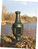 The Blue Rooster Co. Venetian Style Cast Aluminum Wood Burning Chiminea in Antique Green.