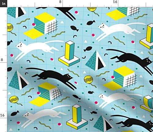 (Spoonflower Memphis Cats Fabric - Retro 1990S 1980S Cats Shapes Geometric Memphis Cats Cat Toy Pets Geometric Grid Memphis Style by Pinkowlet Printed on Lightweight Cotton Twill Fabric by The Yard)